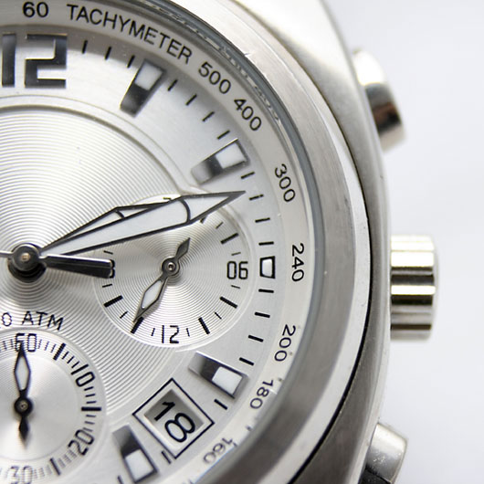 silver watch face